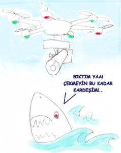 köpekbalığının dron ile takip edilmesi çizimi